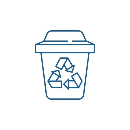 Garbage sorting line concept icon. Garbage sorting flat  vector website sign, outline symbol, illustration.