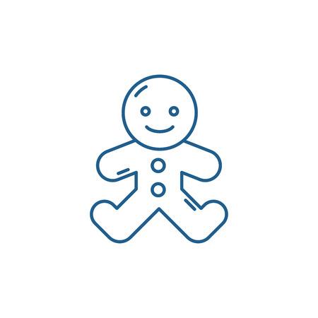 Gingerbread man line concept icon. Gingerbread man flat  vector website sign, outline symbol, illustration. Stock Vector - 119907944
