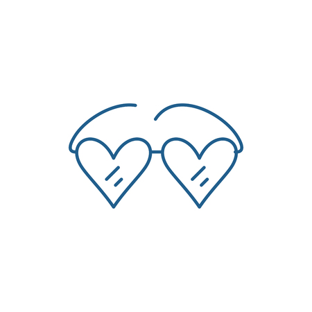 Glasses with hearts line concept icon. Glasses with hearts flat  vector website sign, outline symbol, illustration. Illustration