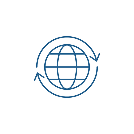 Global logistics line concept icon. Global logistics flat  vector website sign, outline symbol, illustration.