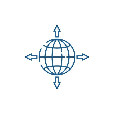 Icône de concept de ligne de canaux de vente mondiaux. Signe de site Web de vecteur plat de canaux de vente mondiaux, symbole de contour, illustration. Vecteurs