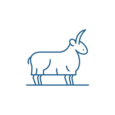 Goat line concept icon. Goat flat  vector website sign, outline symbol, illustration.