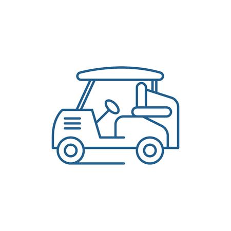 Golf car line concept icon. Golf car flat  vector website sign, outline symbol, illustration. Stock Illustratie