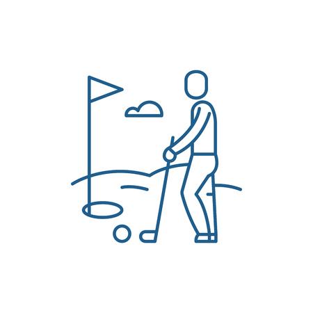 Golf player line concept icon. Golf player flat  vector website sign, outline symbol, illustration.