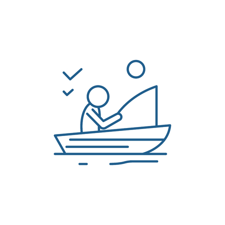 Good fishing line concept icon. Good fishing flat  vector website sign, outline symbol, illustration.