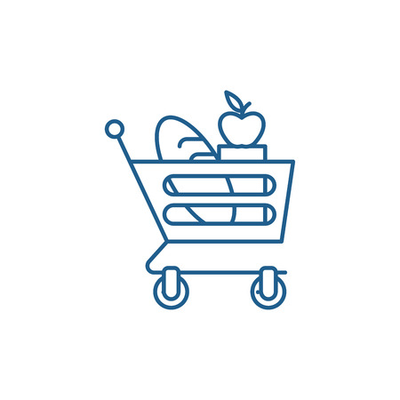 Good food basket line concept icon. Good food basket flat  vector website sign, outline symbol, illustration. Foto de archivo - 119908068