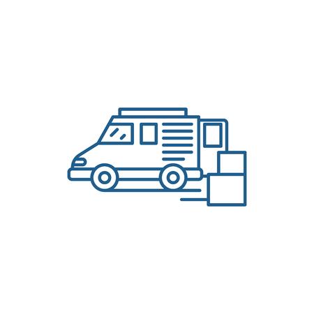 Goods delivery line concept icon. Goods delivery flat  vector website sign, outline symbol, illustration. Archivio Fotografico - 119908070