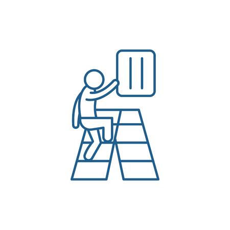 Gradual development line concept icon. Gradual development flat  vector website sign, outline symbol, illustration.