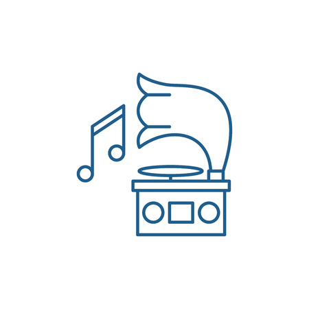 Gramophone line concept icon. Gramophone flat  vector website sign, outline symbol, illustration. Stock Illustratie