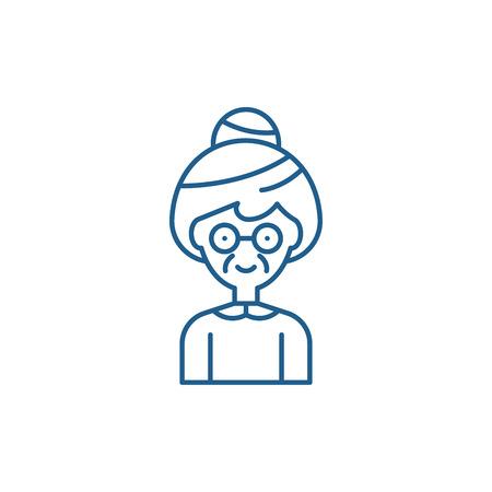 Grandmother line concept icon. Grandmother flat  vector website sign, outline symbol, illustration.