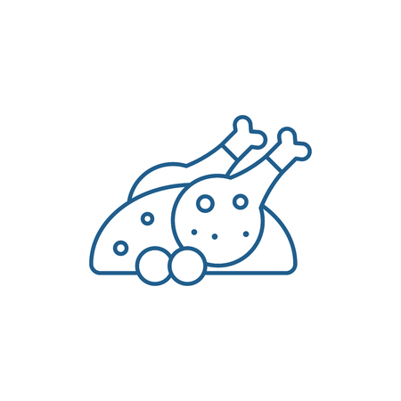 Grilled chicken line concept icon. Grilled chicken flat  vector website sign, outline symbol, illustration. 向量圖像