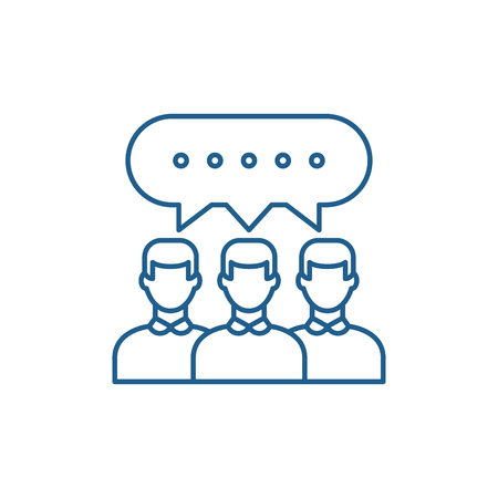 Group discussion line concept icon. Group discussion flat  vector website sign, outline symbol, illustration. Illustration