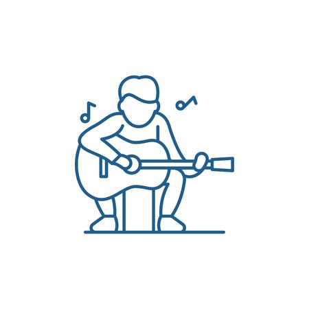 Guitar player line concept icon. Guitar player flat  vector website sign, outline symbol, illustration. Illustration