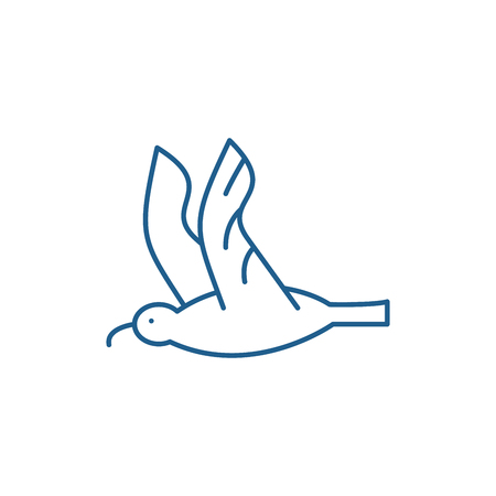 Gull line concept icon. Gull flat  vector website sign, outline symbol, illustration. Illustration