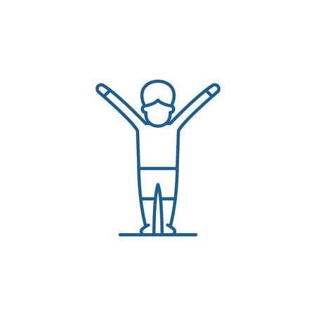 Gymnastics line concept icon. Gymnastics flat  vector website sign, outline symbol, illustration.