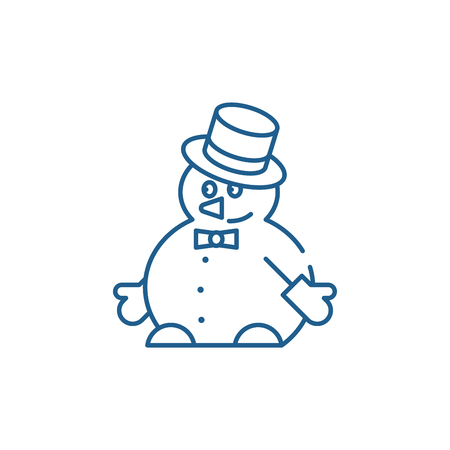 Funny snowman line concept icon. Funny snowman flat  vector website sign, outline symbol, illustration. Ilustracja