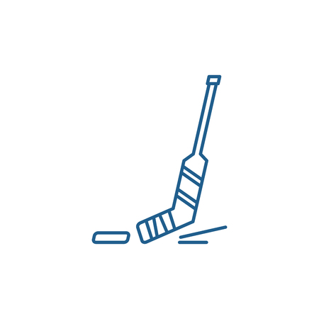 Hockey line concept icon. Hockey flat  vector website sign, outline symbol, illustration.