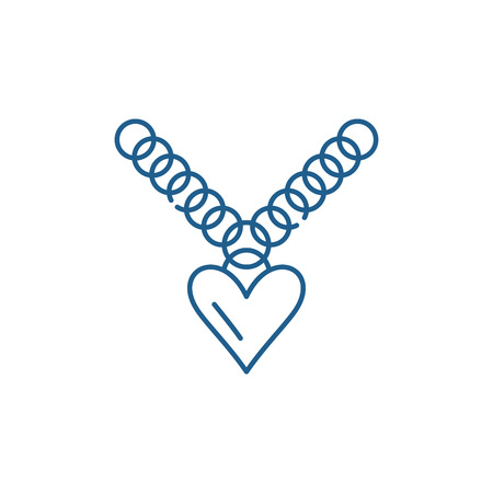 Heart pendant line concept icon. Heart pendant flat  vector website sign, outline symbol, illustration.
