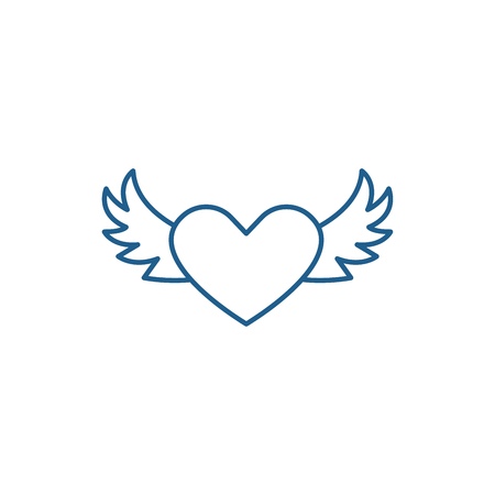 Heart with wings line concept icon. Heart with wings flat  vector website sign, outline symbol, illustration. Vettoriali