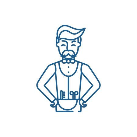 Hairdresser line concept icon. Hairdresser flat  vector website sign, outline symbol, illustration.