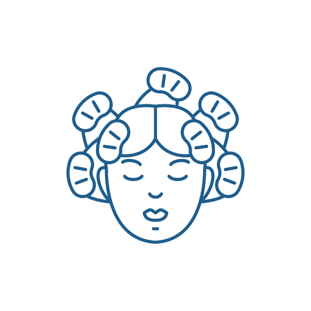 Hairdressers services line concept icon. Hairdressers services flat  vector website sign, outline symbol, illustration.