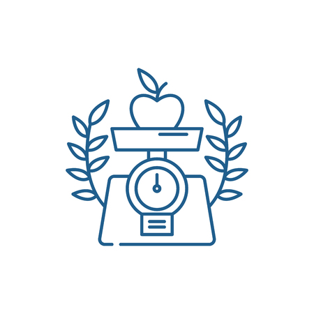 Healthy food line concept icon. Healthy food flat  vector website sign, outline symbol, illustration.  イラスト・ベクター素材
