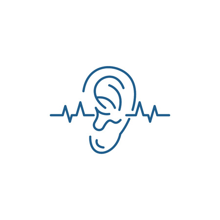 Hearing test line concept icon. Hearing test flat  vector website sign, outline symbol, illustration.