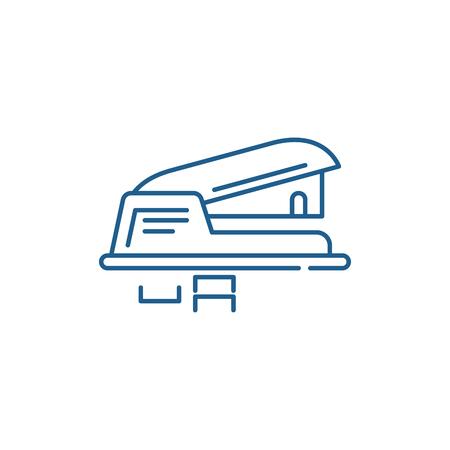 Hole puncher line concept icon. Hole puncher flat  vector website sign, outline symbol, illustration. Ilustracja