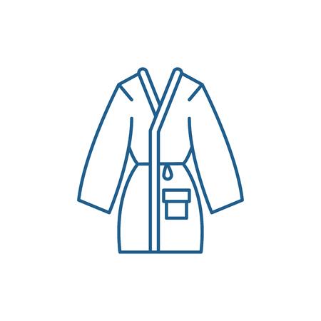 Home Bademantel Symbol Leitung Konzept. Home Bademantel flaches Vektor-Website-Zeichen, Umrisssymbol, Illustration