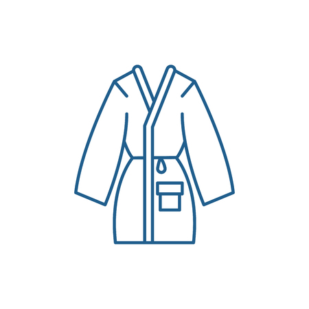 Home bathrobe line concept icon. Home bathrobe flat  vector website sign, outline symbol, illustration.