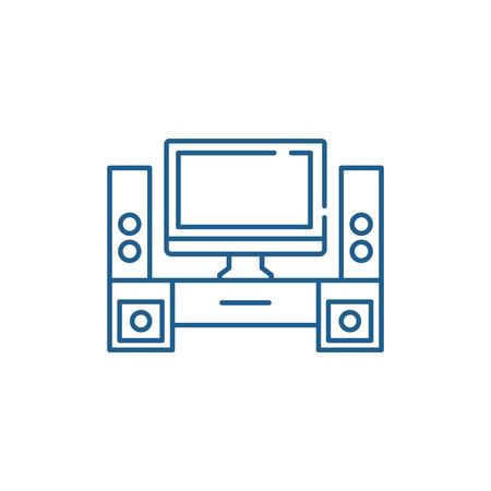 Home cinema line concept icon. Home cinema flat  vector website sign, outline symbol, illustration.