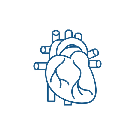 Human heart line concept icon. Human heart flat  vector website sign, outline symbol, illustration.