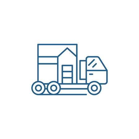 House transportation line concept icon. House transportation flat  vector website sign, outline symbol, illustration. Archivio Fotografico - 119908201