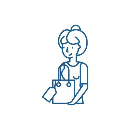 Housewife line concept icon. Housewife flat  vector website sign, outline symbol, illustration. Stock Illustratie