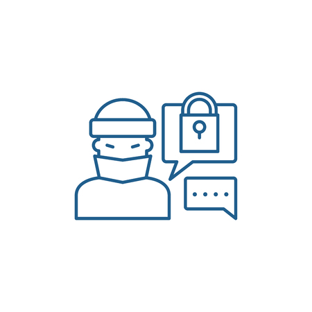 Hacking access system line concept icon. Hacking access system flat  vector website sign, outline symbol, illustration. Illustration