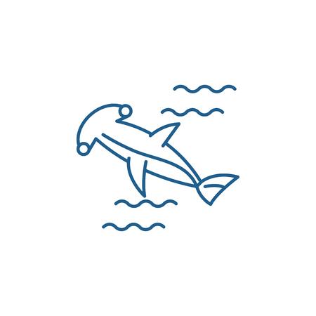 Hammer fish line concept icon. Hammer fish flat  vector website sign, outline symbol, illustration.