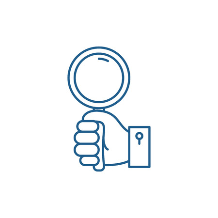 Hand with magnifier line concept icon. Hand with magnifier flat  vector website sign, outline symbol, illustration. Stok Fotoğraf - 119908206