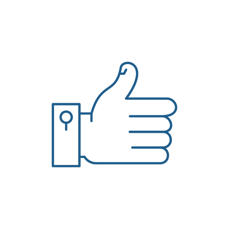 Hand with thumb up line concept icon. Hand with thumb up flat  vector website sign, outline symbol, illustration. Illusztráció