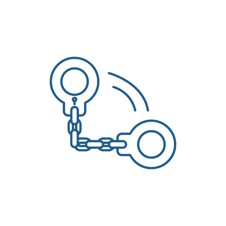 Handcuffs line concept icon. Handcuffs flat  vector website sign, outline symbol, illustration. 스톡 콘텐츠 - 119908208