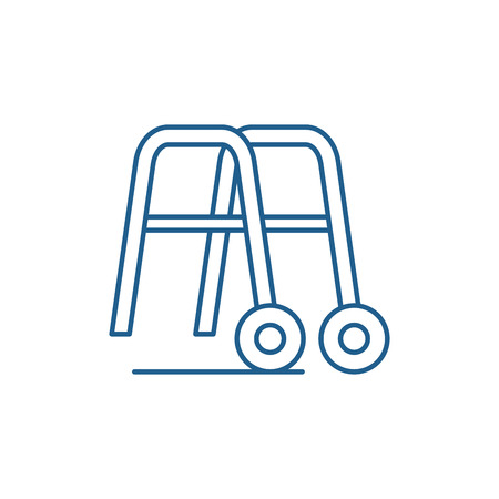 Handrails for walking line concept icon. Handrails for walking flat  vector website sign, outline symbol, illustration. 向量圖像