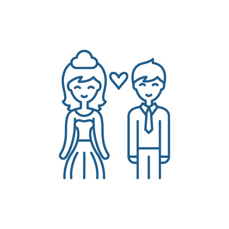 Happy newlyweds line concept icon. Happy newlyweds flat  vector website sign, outline symbol, illustration.