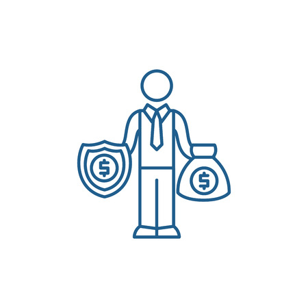 Happy rich businessman line concept icon. Happy rich businessman flat  vector website sign, outline symbol, illustration. Zdjęcie Seryjne - 119908237