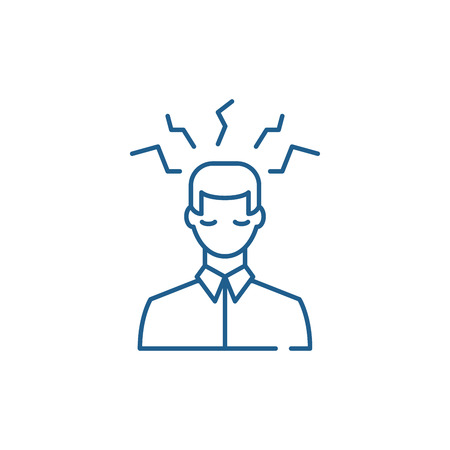 Headache sign line concept icon. Headache sign flat  vector website sign, outline symbol, illustration.