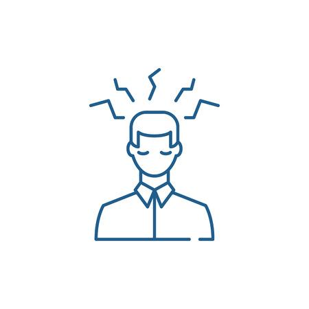 Headache sign line concept icon. Headache sign flat  vector website sign, outline symbol, illustration.