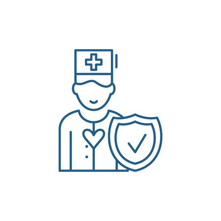 Health insurance line concept icon. Health insurance flat  vector website sign, outline symbol, illustration. Ilustracja