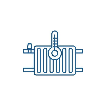 Heating radiators line concept icon. Heating radiators flat  vector website sign, outline symbol, illustration. Stock Illustratie