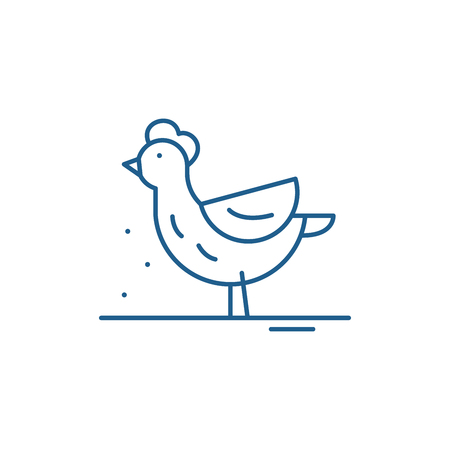 Hen line concept icon. Hen flat  vector website sign, outline symbol, illustration.
