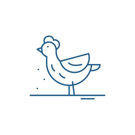 Hen line concept icon. Hen flat vector website sign, outline symbol, illustration.