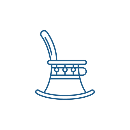 High chair line concept icon. High chair flat  vector website sign, outline symbol, illustration.