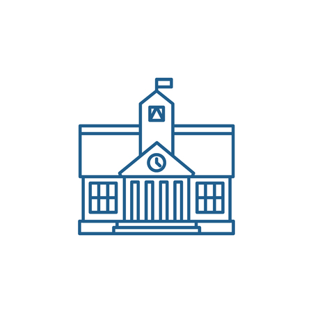 Higher education line concept icon. Higher education flat  vector website sign, outline symbol, illustration.  イラスト・ベクター素材